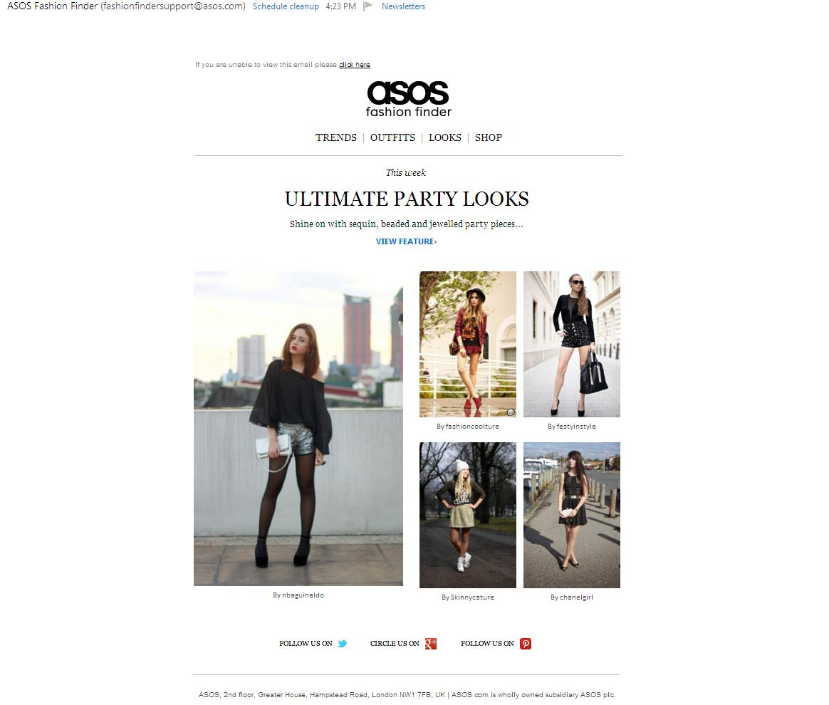 asos newsletter